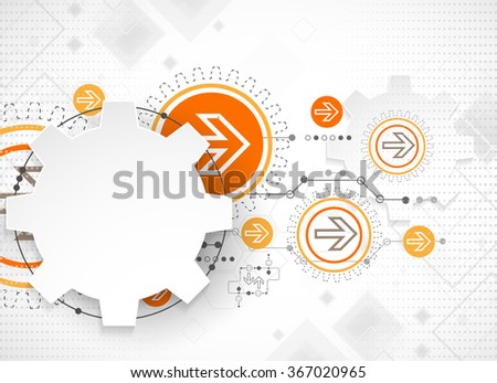Abstract technology background. Cogwheels theme. Vector illustration - stock vector