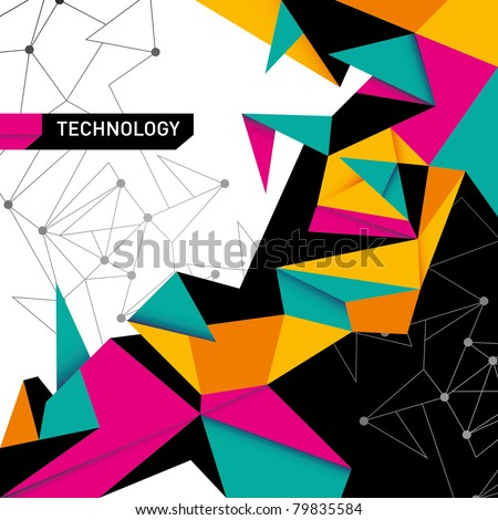 Abstract technology background in color. Vector illustration. - stock vector