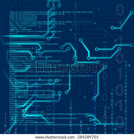 Abstract technology background. Microcircuit. Programming and binary code. Stock Vector. - stock vector
