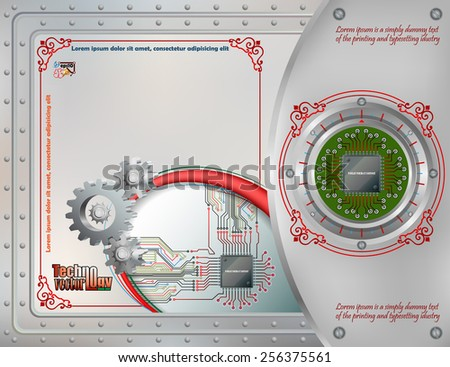 Abstract technology background;Processor Chip attached to metallic device connected with circuit board;Cogwheels symbol of technology; Steel boards tied together with many rivets.Ornamental frame.  - stock vector