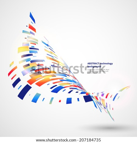 Abstract technology background with colored geometric elements  - stock vector