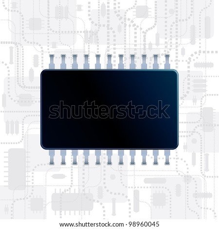 Abstract Technology Background with Computer CPU for your own text message - stock vector
