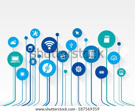 Abstract technology background with lines, circles and flat icons. Growth (circuit) concept contains mobile phone, technology, laptop, cloud computing, usb, pad and router icons. Vector illustration. - stock vector