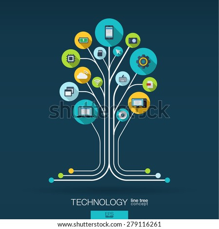 Abstract technology background with lines, connected circles, integrated flat icons. Growth tree (circuit) concept with technology, cloud computing and router icons. Vector interactive illustration. - stock vector