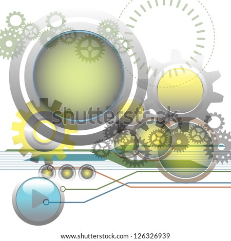 Abstract technology background with metallic spheres, gears, circles and various futuristic elements - stock vector