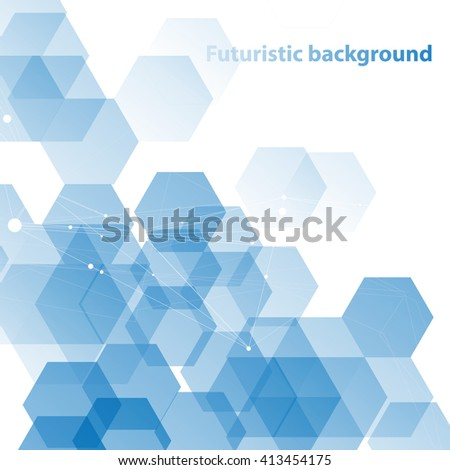 Abstract technology background with molecular structure connection.  - stock vector