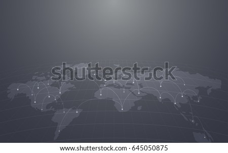Abstract technology background world map network stock vector abstract technology background with world map and network link in grey color gumiabroncs Gallery