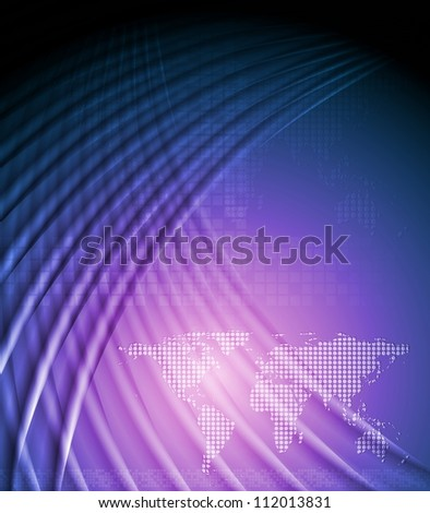 Abstract technology background with world map. Vector illustration eps 10