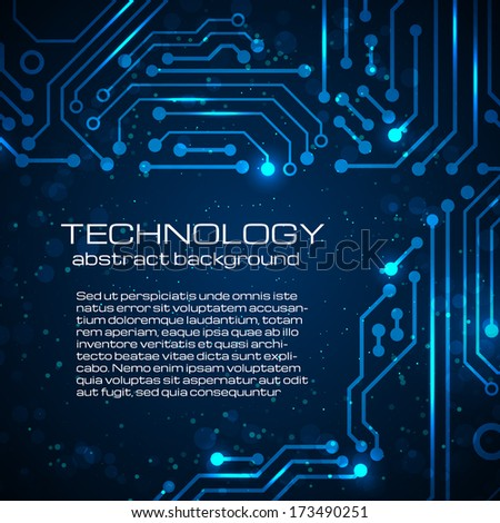 Abstract technology blue background with space for your text. Vector illustration.