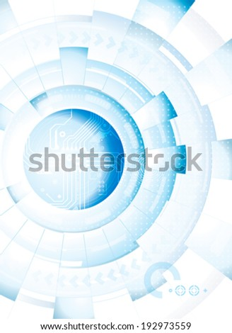 Abstract technology blue white background. Vector. - stock vector
