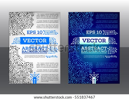Abstract Technology Brochure. Technology Scheme Book Cover Layout. Digital  Corporate Business Template Design Of