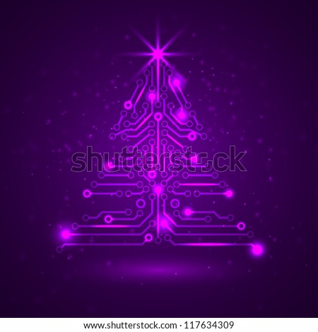 Abstract technology Christmas tree with digital electronic circuit and pink lights. Vector illustration.