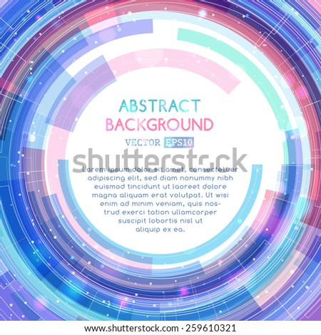 Abstract technology circle. Vector retro illustration. There is place for your text in the center.