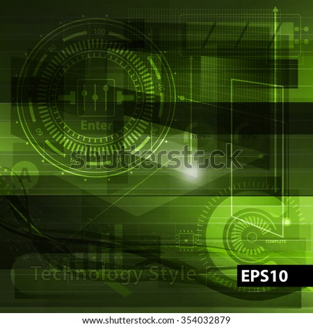 Abstract technology contour objects. Power and energy concept. Financial business presentation. Light futuristic concept, digital light green. Vector modern background