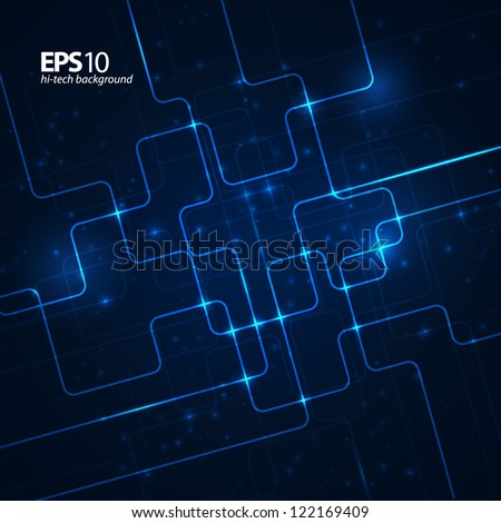 Abstract technology dark blue background. Vector illustration. - stock vector