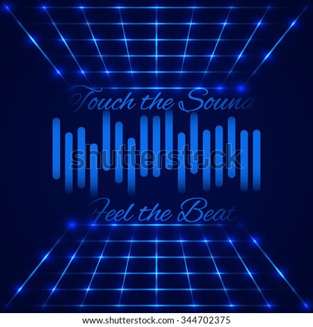 """Abstract technology design. Retro disco stage with digital equalizer (sound wave) with text """"Touch the sound, Feel the beat"""". Vector illustration - stock vector"""