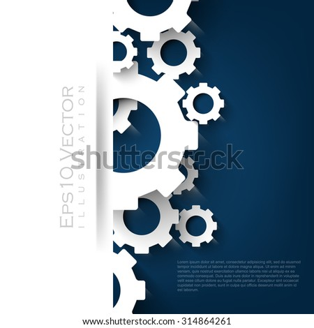abstract technology gear paper concept overlapping banner advertisement leaflet brochure eps10 vector illustration - stock vector