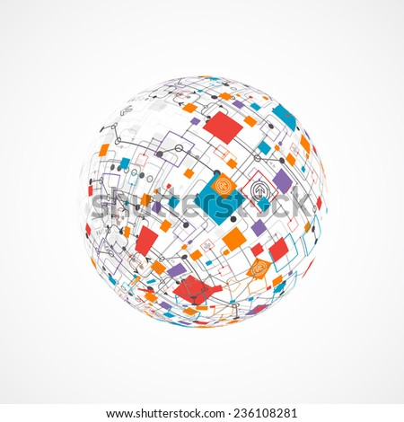Abstract technology globe background