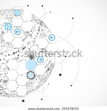 Abstract technology globe background. Vector