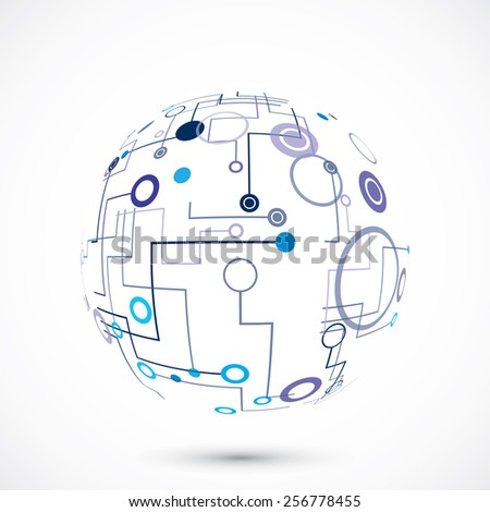 Abstract technology globe on the gray background - stock vector