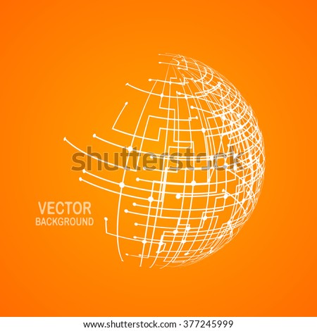Abstract technology globe. Vector design