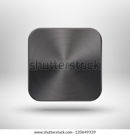 Abstract technology icon (button) with black metal texture (stainless steel, chrome, silver), realistic shadow and light background for internet sites, web user interfaces (ui) and applications (app). - stock vector