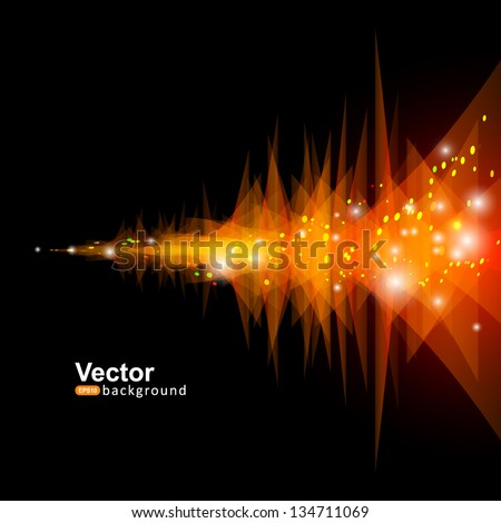 Abstract technology lines and triangles with light vector backgound - stock vector