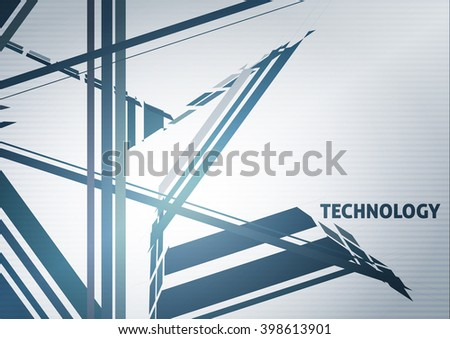 Abstract technology pattern with blue futuristic structure on a silver gray background. Tech vector graphics wallpaper - stock vector