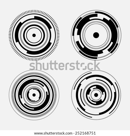 Abstract technology signs - set of futuristic circles - stock vector