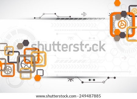 Abstract technology square background with cogwheels - stock vector