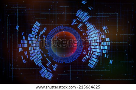 Abstract technology-style vector background-code zero one in cyberspace. - stock vector