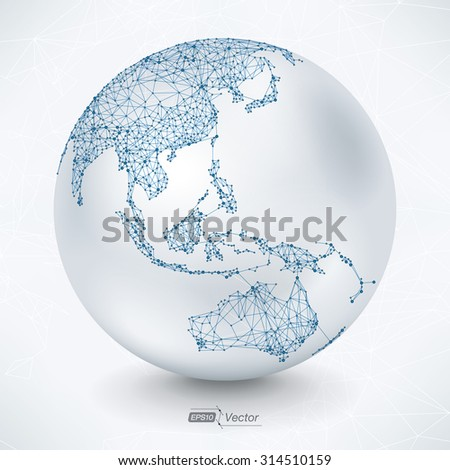 Abstract Telecommunication Earth Map - Asia, Indonesia, Oceania, Australia Communication concept - EPS10 vector design - stock vector