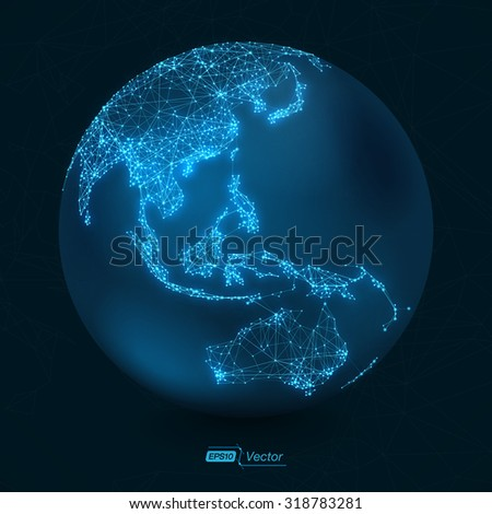 Abstract Telecommunication Earth Map - Asia, Indonesia, Oceania, Australia - EPS10 vector design - stock vector