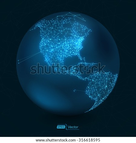Abstract Telecommunication Earth Map - North America | Communication concept - EPS10 vector design - stock vector