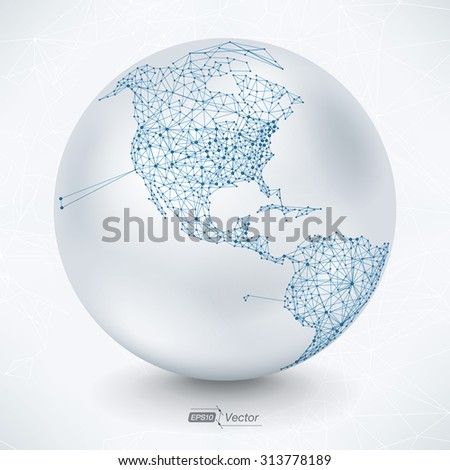 Abstract Telecommunication Earth Map - North America - EPS10 vector - stock vector