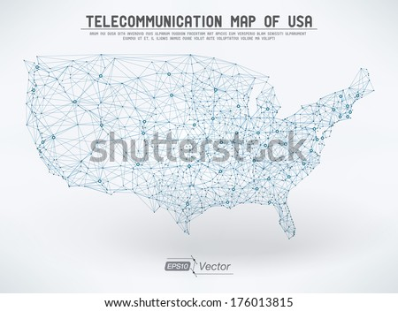 Abstract Telecommunication Network Map Usa Detailed Stock Vector - Us map detailed