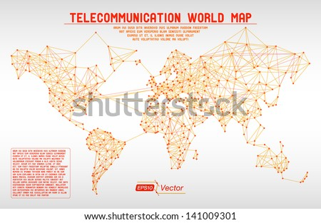 Abstract telecommunication world map with circles, lines and gradients - Detailed EPS10 vector design - stock vector
