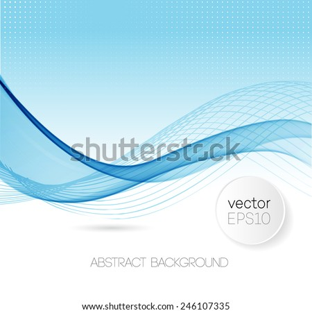 Abstract template background with blue wave - stock vector