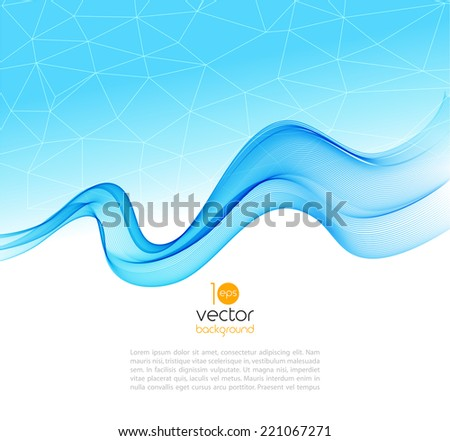 Abstract template blue background with transparent wave - stock vector