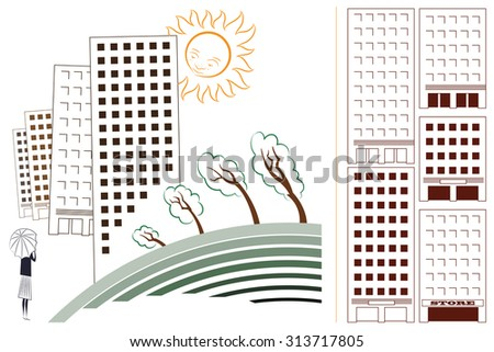 Abstract template city vector illustration. - stock vector