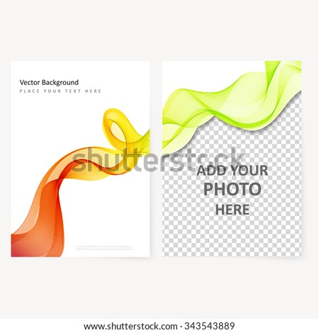Abstract template color flyer with transparent waves - stock vector