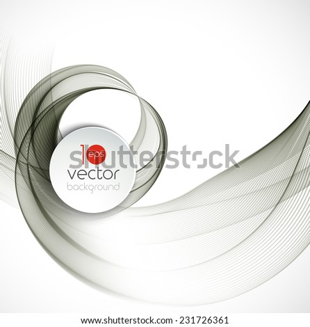 Abstract template design with gray fractal wave - stock vector