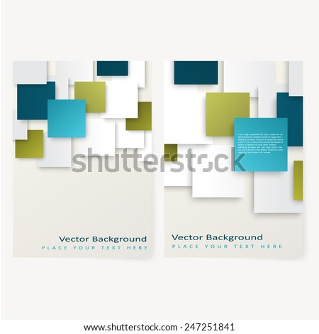 Abstract  template geometric flyer with color squares. Design element - stock vector