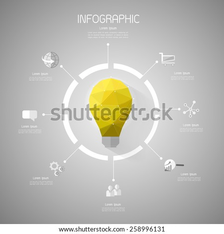 Abstract template, Light bulb low poly style with flat icons set - stock vector
