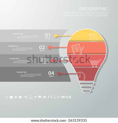 Abstract template light bulb 4 steps . Can be used for workflow layout, banner, diagram, web design, infographic Vector Eps10 - stock vector