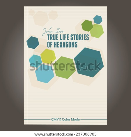 Abstract template of brochure cover with color hexagons. Vector - stock vector