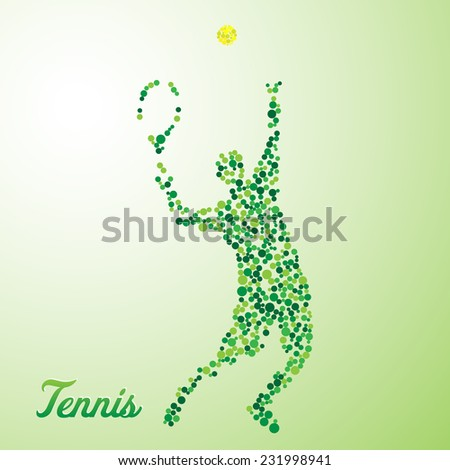 Abstract tennis player from dots kicking the ball - stock vector