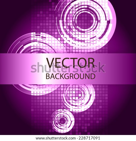 Abstract. text box. Brochure for computer graphic and technology. Dark purple background.