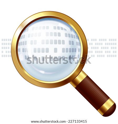 Abstract text under magnifying glass. EPS 10. CMYK. Organized by layers. Global colors. Gradients used. - stock vector