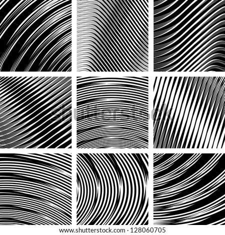 Abstract textured backgrounds set in op art design. No gradient. Vector art. - stock vector